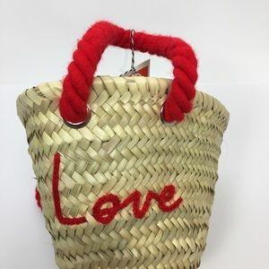 New Free People Poolside Love Straw Bag Beach Tote